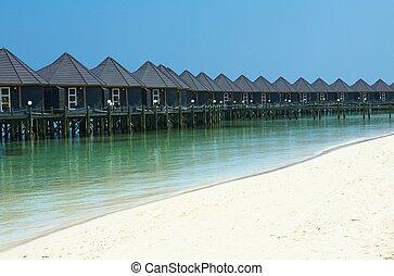 tropikalny, domki wypoczynkowy, ładny