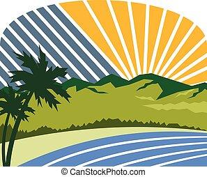 tropikalny, drzewa, góry, morski brzeg morza, retro