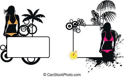 tropikalny, dziewczyna, copyspace3, hawaje