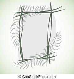 tropikalny, dziewiczość, frame., drzewa., liście, raj, rainforest, jungle., tło., wektor, zielony, dżungla, liście, afrykanin, rośliny, trawa