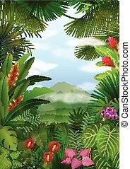 tropikalny, góry, krajobraz