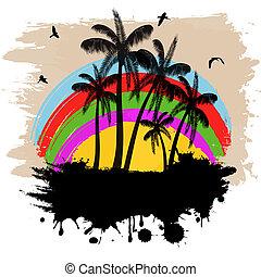 tropikalny, grunge, tło