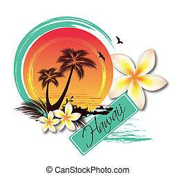 tropikalny, ilustracja, wyspa