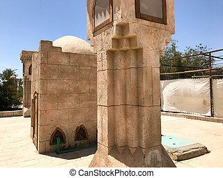 tropikalny, kamień, bóg, muslim, country., arab, wielki, ciepły, meczet, wyniosły, wieża, modlący się, świątynia, kolumny