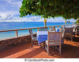 tropikalny, kawiarnia, plaża