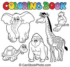 tropikalny, kolorowanie, 2, zwierzęta, książka