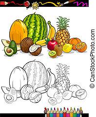 tropikalny, kolorowanie, grupa, książka, owoce