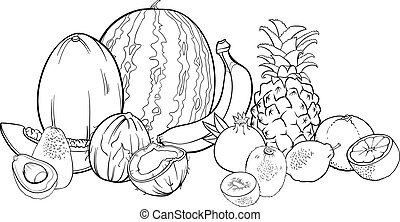 tropikalny, koloryt książka, ilustracja, owoce