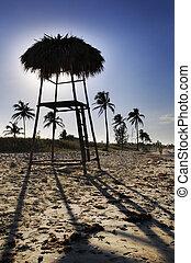 tropikalny, krzesło, plaża