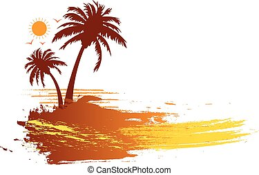 tropikalny, lato, dłoń drzewa, grunge