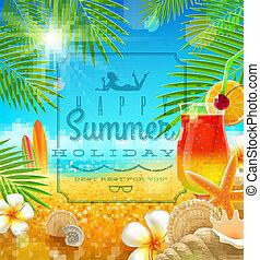 tropikalny, lato, projektować, urlop