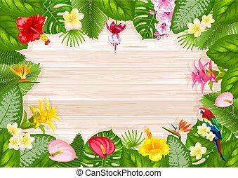 tropikalny, lato, ułożyć, projektować