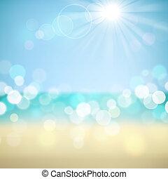 tropikalny, letnie święto, plaża, tło