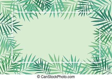 tropikalny, liście, dłoń, ułożyć, tło