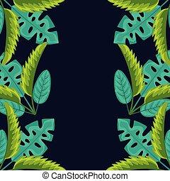 tropikalny, liście, kasownik