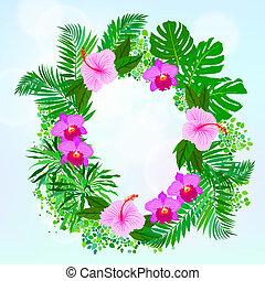 tropikalny, liście, kwiaty, dłoń, banan, karta