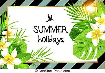 tropikalny, liście, kwiaty, dłoń