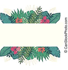 tropikalny, liście, ułożyć, skwer, kwiaty