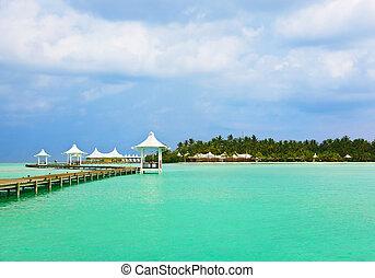 tropikalny, malediwy, plaża, molo