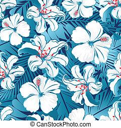 tropikalny, malwa, biały, flowers.