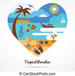 tropikalny, miłość, raj