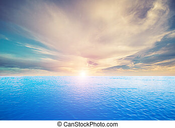 tropikalny, niebo, chmury, i, ocean