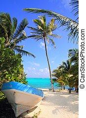 tropikalny, osadził na mieliźnie, plaża, karaibski, łódka