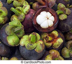 tropikalny owoc, asian, tło, biały, mangostan