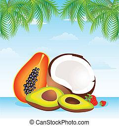tropikalny owoc, kosz