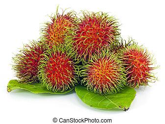 tropikalny owoc, tło, rambutan, biały