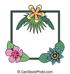 tropikalny, ozdoba, liście, kwiaty, ułożyć
