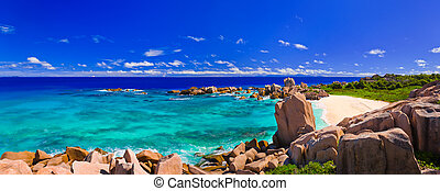 tropikalny, panorama, seychelles, plaża