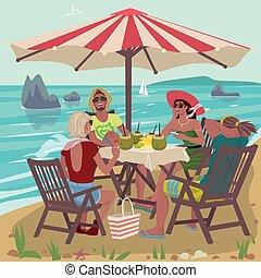 tropikalny, pary, plaża, jedzenie, dwa
