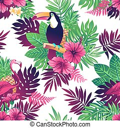 tropikalny, pattern., seamless