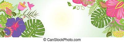 tropikalny, poziomy, kwiaty, chorągiew