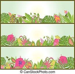tropikalny, poziomy, kwiaty, chorągwie