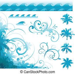 tropikalny, pozycja, projektować