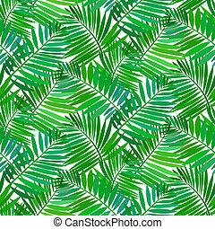 tropikalny, próbka, liście, dłoń, seamless