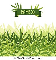 tropikalny, próbka, seamless, leaves., stylizowany, bambus