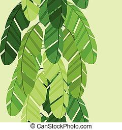 tropikalny, próbka, seamless, leaves., stylizowany, dłoń, banan