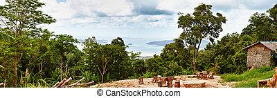tropikalny, prospekt, pagórek, ocean
