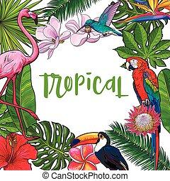 tropikalny, ptaszki, tekst, liście, kwiaty, dłoń, miejsce, chorągiew