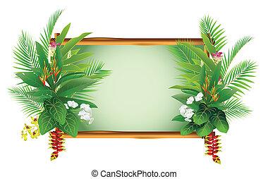 tropikalny, rośliny, dekorowanie, piękno