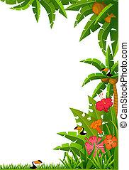 tropikalny, rośliny, papugi