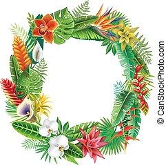 tropikalny, rośliny, ułożyć