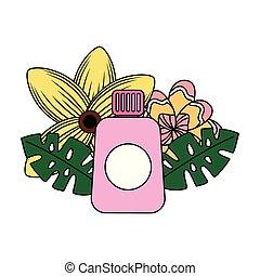 tropikalny, sunblock, kwiat, lato