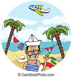 tropikalny, szczęśliwy, turysta, urlop