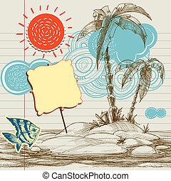 tropikalny, tło, lotnik, morze, raj, święto