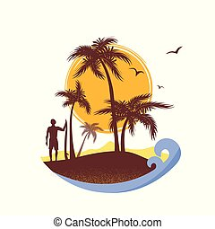 tropikalny, tło, morze, fale, surfer, island., wektor, afisz