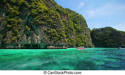 tropikalny, tajlandia, wyspy, podróż, łódka